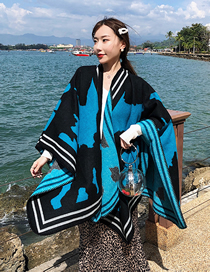 Fashion Blue Black Shawl Cashmere Cloak