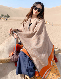 Fashion Orange Side Split-fork Cashmere Cloak Shawl