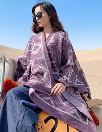 Fashion Light Purple Diamond-shaped Cashmere Split Shawl
