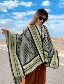 Fashion Army Green Knitted Cashmere Split Cloak Shawl