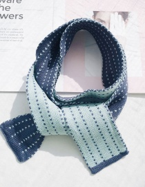 Fashion Striped Knit Small Scarf Blue Knitted Wool Striped Scarf