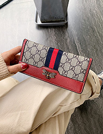 Fashion Long Red Contrast 3 Fold Long Wallet