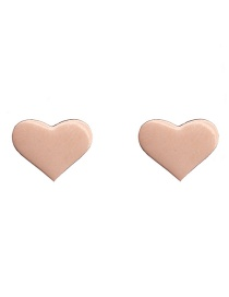 Fashion Heart Pink Stainless Steel Geometric Pattern Earrings