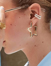 Fashion Gold Street Street Pentagram Earrings