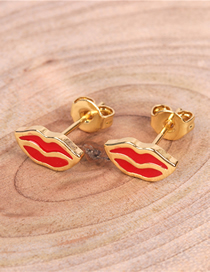 Fashion Gold Red Lips Earrings