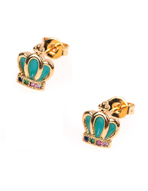 Fashion Lake Blue Crown Micro-inlaid Zircon Drops Earrings