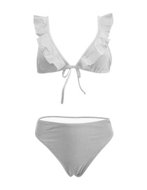 Fashion White Solid Color Flashing Tether Split Swimsuit