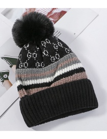 Fashion Black Knitted Wool Ball Color Matching And Cashmere Cap