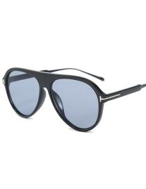 Fashion Black Frame Blue Round Sunglasses