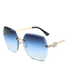 Fashion Gold Frame Gray Blue Square Trimming Legs With Diamond Sunglasses