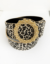 Fashion Leopard Alloy Round Pudding Belt