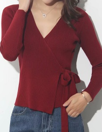Fashion Jujube Red Deep V-neck Crossover Sweater