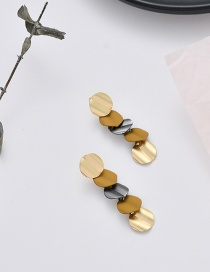 Fashion Ginger Yellow Contrast Geometric Metal Earrings