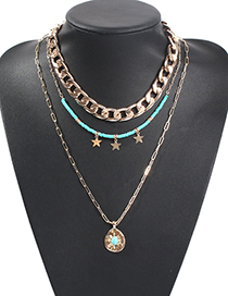 Fashion Blue Alloy Diamond Beaded Star Double Layer Necklace