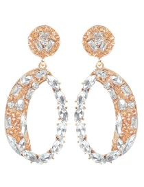 Fashion White Oval Shape Decorated Earrings
