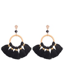 Fashion Black Alloy Ring Tassel Earrings