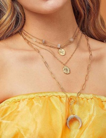 Fashion Gold Alloy Stone Crescent Multilayer Necklace