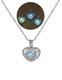Fashion Silver Love Letter Hollow Night Light Bead Necklace