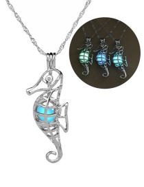Fashion Silver Hippocampus Hollow Night Bead Necklace