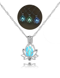 Fashion Silver Lotus Hollow Night Bead Necklace