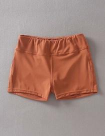 Fashion Orange Solid Color High Waist Hip Yoga Pants