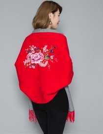 Fashion Red Cashmere Double-sided Embroidery Can Be Worn With Sleeves Tassel Scarf Shawl Cloak