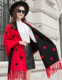 Fashion Red Black Knitted Fringed Cloak Shawl Sweater