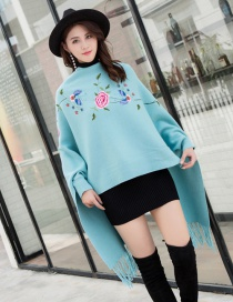 Fashion Lake Blue Cape Cloak With Sleeves