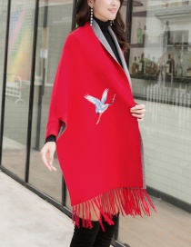 Fashion Red Cashmere Double Sided Can Be Worn With Sleeve Tassel Cloak Cloak