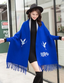 Fashion Sapphire Cashmere Double Sided Can Be Worn With Sleeve Tassel Cloak Cloak