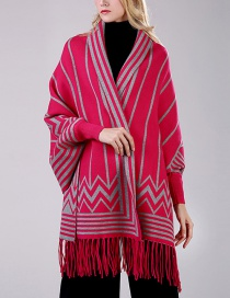 Fashion Rose Red Cashmere Scarf Cloak Shawl