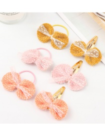 Fashion Color Fabric Lace Bow Children's Hair Rope 6 Pack