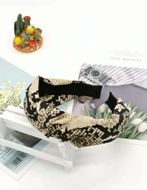 Fashion Beige Snake Knotted Headband Cloth Serpentine Bow Cross Headband