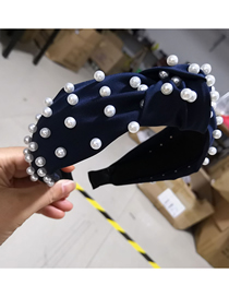 Fashion Navy Cloth Nailed Pearl Knotted Wide-brimmed Headband