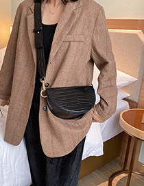 Fashion Brown Crocodile Shoulder Crossbody Bag
