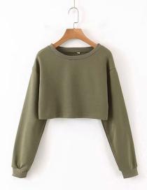 Fashion Army Green Round Neck Sweater
