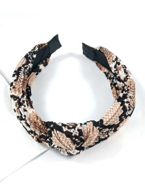 Fashion Coffee Color Snakeskin Fold Knotted Headband Snakeskin Knotted Wide-brimmed Fabric Print Crease Headband