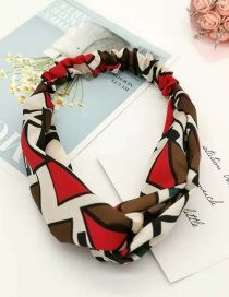 Fashion Red Geometric Pattern Cross Hair Band Wide-brimmed Fabric Print Knotted Headband