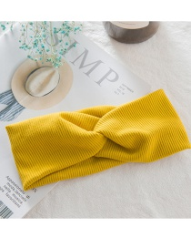 Fashion Yellow Knit Hair Band Wide-brimmed Knit Wool Cross Bow Tie