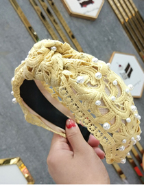 Fashion Yellow Wide-necked Nailed Pearl Knotted Lace Headband