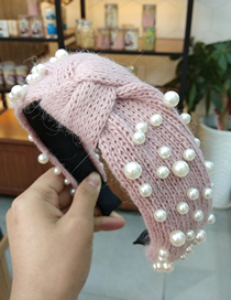 Fashion Pink Nail Size Pearl Knotted Headband Knitted Knotted Yarn Nail Pearl Headband