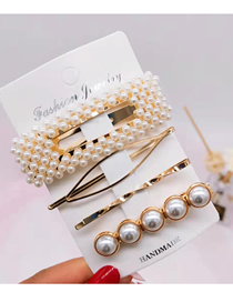 Fashion 4# Gold 4 Piece Set Pearl Hair Clip Pearl Winding Hair Clip