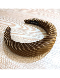 Fashion Brown Striped Velvet Sponge Striped Velvet Sponge Wide-brimmed Fabric Headband