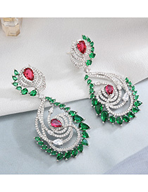 Fashion Green S925 Sterling Silver Needle-set Zircon Earrings