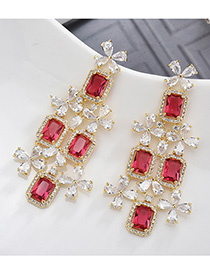 Fashion Red S925 Silver Pin Micro Inlaid Zircon Gemstone Flower Earrings