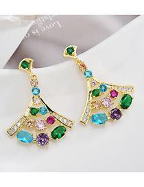 Fashion Color S925 Sterling Silver Needle Micro-inlaid Zircon Skirt Earrings