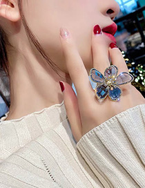 Fashion Blue Large Flower Crystal Open Ring