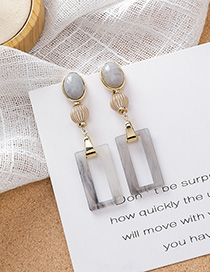 Fashion Gray Ink Geometric Diamond Earrings