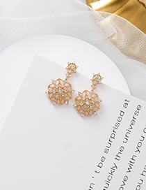 Fashion Gold 925 Silver Needle Full Diamond Snowflake Openwork Flower Earrings