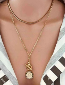 Fashion Gold Geometric Word Buckle Necklace